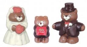 Form für Schokolade: Bärenhochzeit, 3 Formen Mann 11 cm,Frau 10,5 cm,Kind 7 cm