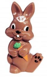 Form für Schokolade: Hase lachend mit Möhre, 18,5 cm