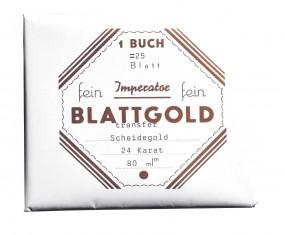 echtes Blattgold, 24 Karat 25 Transfer-Blätter 8 x 8 cm