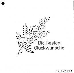 Sieb-Schablone Die besten Wünsche m.Blume