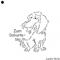 Sieb-Schablone Dackel / Zum Geburtstag
