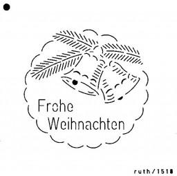 Sieb-Schablone Frohe Weihnachten m.Glocken