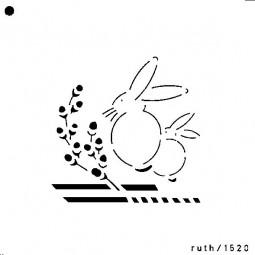 Sieb-Schablone Hasen / Weidenkätzchen