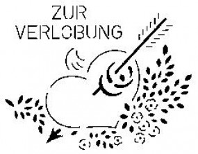 Sieb-Schablone Zur Verlobung m.Herz/Pfeil/Blume