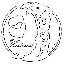 Sieb-Schablone Zur Hochzeit m.Blumen/Herz