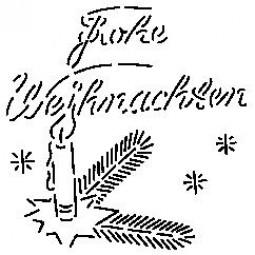 Sieb-Schablone Frohe Weihnachten m.Kerze u.Tanne