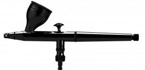 AIR-fix Airbrush, 0,3 mm Düse, 1 x 5 ml Fließbecher, schwarz - verchromt, mit Farbmengenregulierung