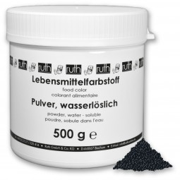 Lebensmittelfarbstoff, Pulver, 500 g, wasserlöslich, schwarz