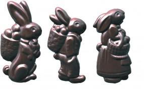 Form für Schoko-Dekore: Hasenrelief, (10 x) 6 St.